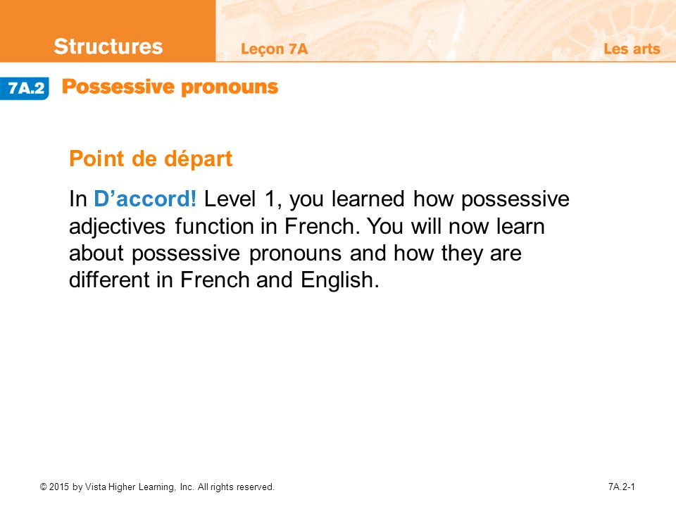 Point de départ In D'accord! Level 1, you learned how ...