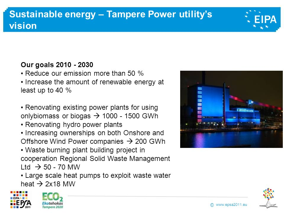 Sustainable energy – Tampere Power utility's vision