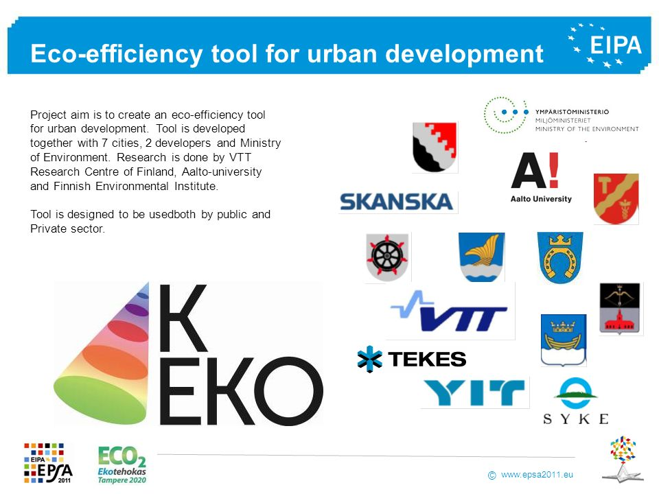 Eco-efficiency tool for urban development