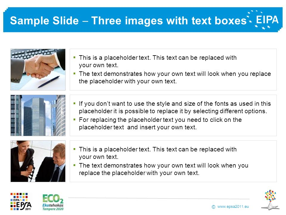 Sample Slide  Three images with text boxes