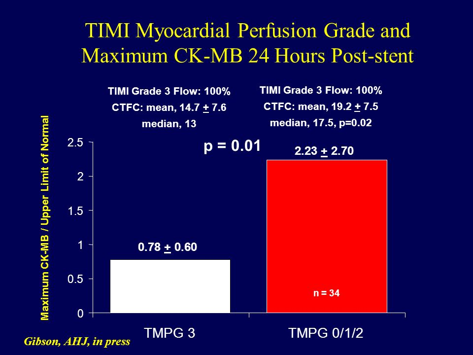 TIMI Myocardial Perfusion Grade and Maximum CK-MB 24 Hours Post-stent