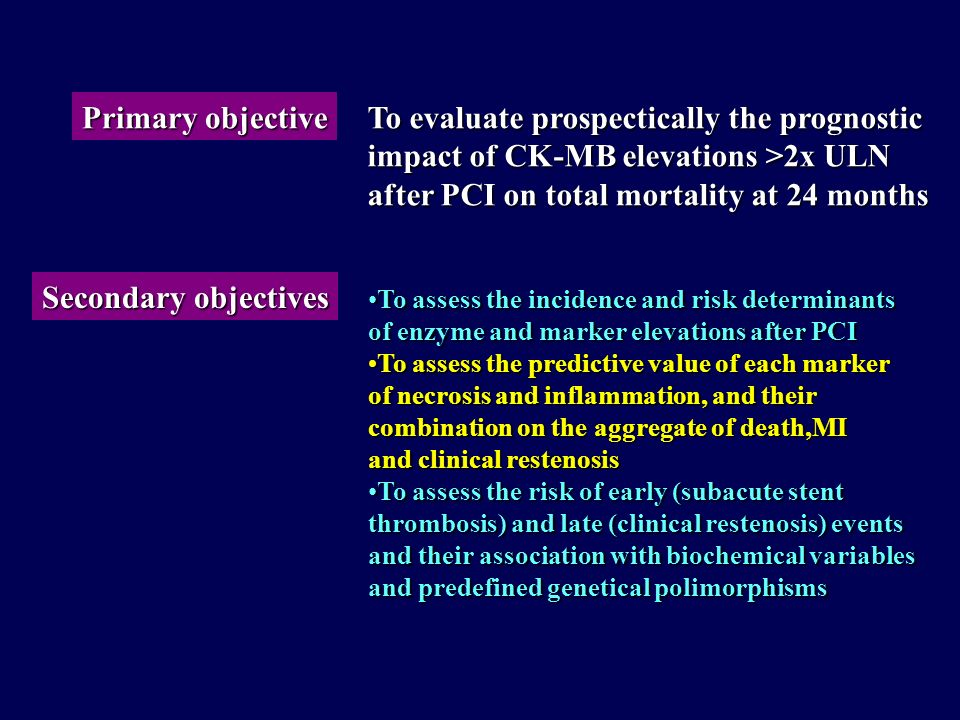 To evaluate prospectically the prognostic
