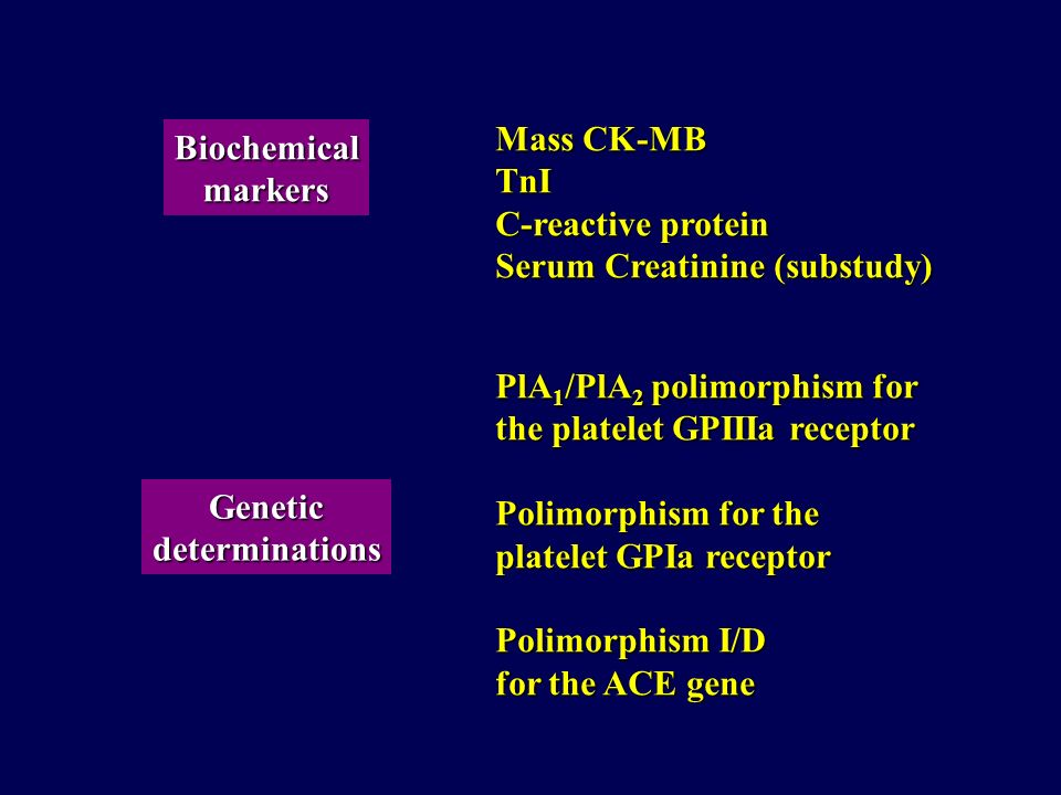 Mass CK-MB TnI. C-reactive protein. Serum Creatinine (substudy) Biochemical. markers. PlA1/PlA2 polimorphism for.