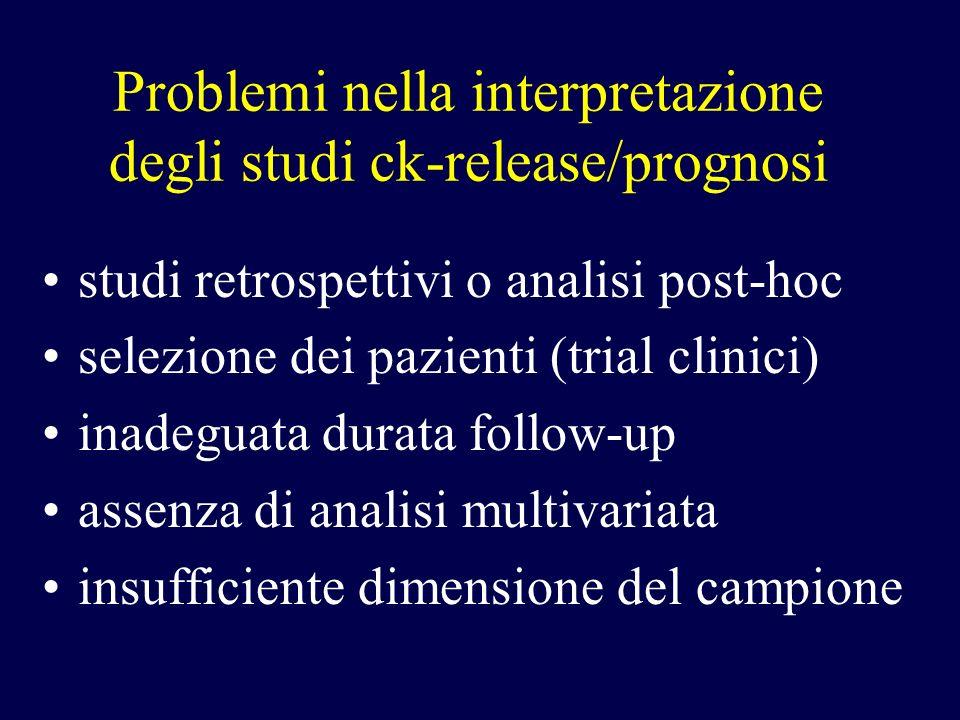 Problemi nella interpretazione degli studi ck-release/prognosi