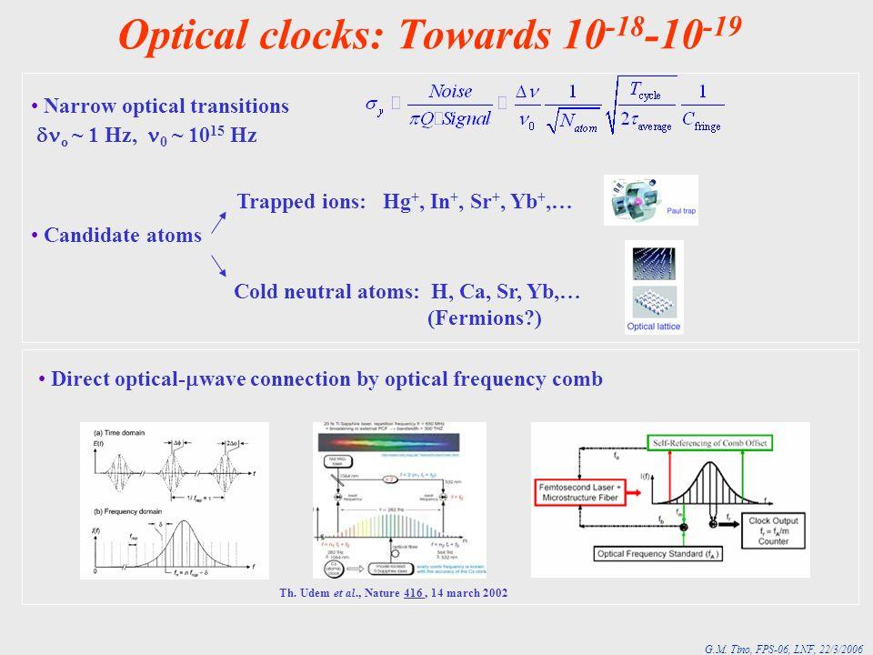 Optical clocks: Towards 10-18-10-19