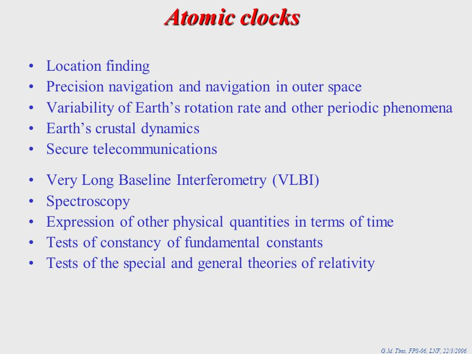 Atomic clocks Location finding