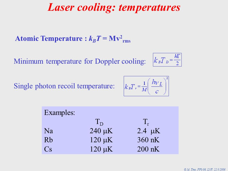 Laser cooling: temperatures