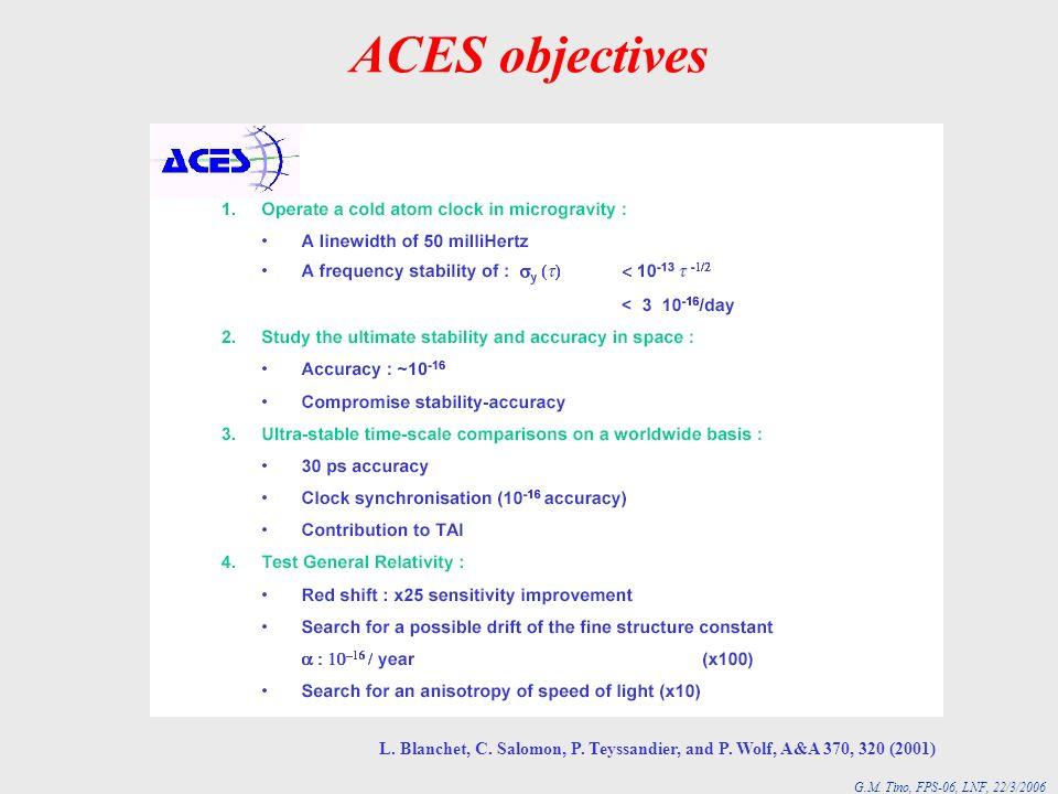 ACES objectives L. Blanchet, C. Salomon, P. Teyssandier, and P. Wolf, A&A 370, 320 (2001)