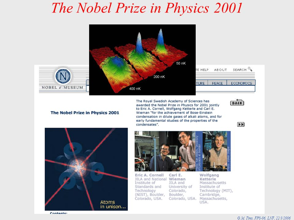 The Nobel Prize in Physics 2001