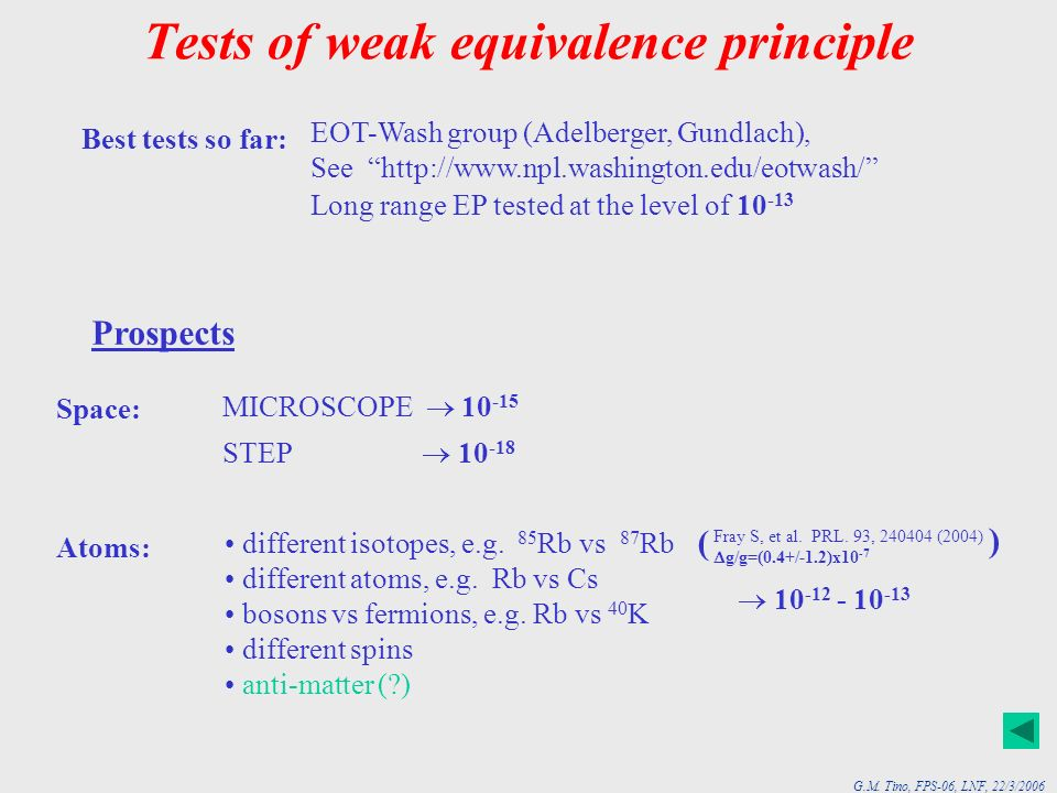 Tests of weak equivalence principle