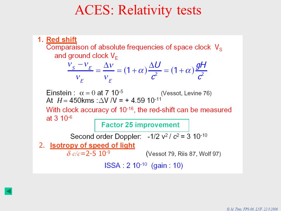 ACES: Relativity tests