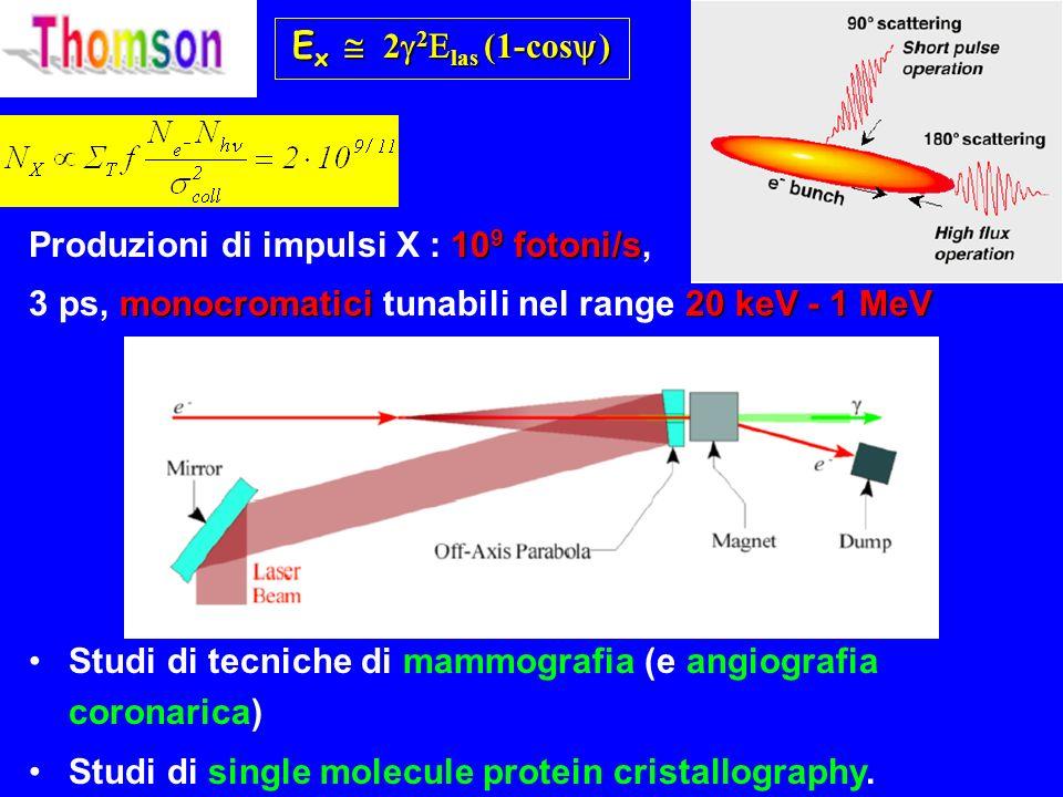 Ex @ 22Elas (1-cos) Produzioni di impulsi X : 109 fotoni/s, 3 ps, monocromatici tunabili nel range 20 keV - 1 MeV.