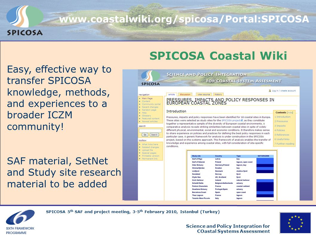SPICOSA Coastal Wiki www.coastalwiki.org/spicosa/Portal:SPICOSA
