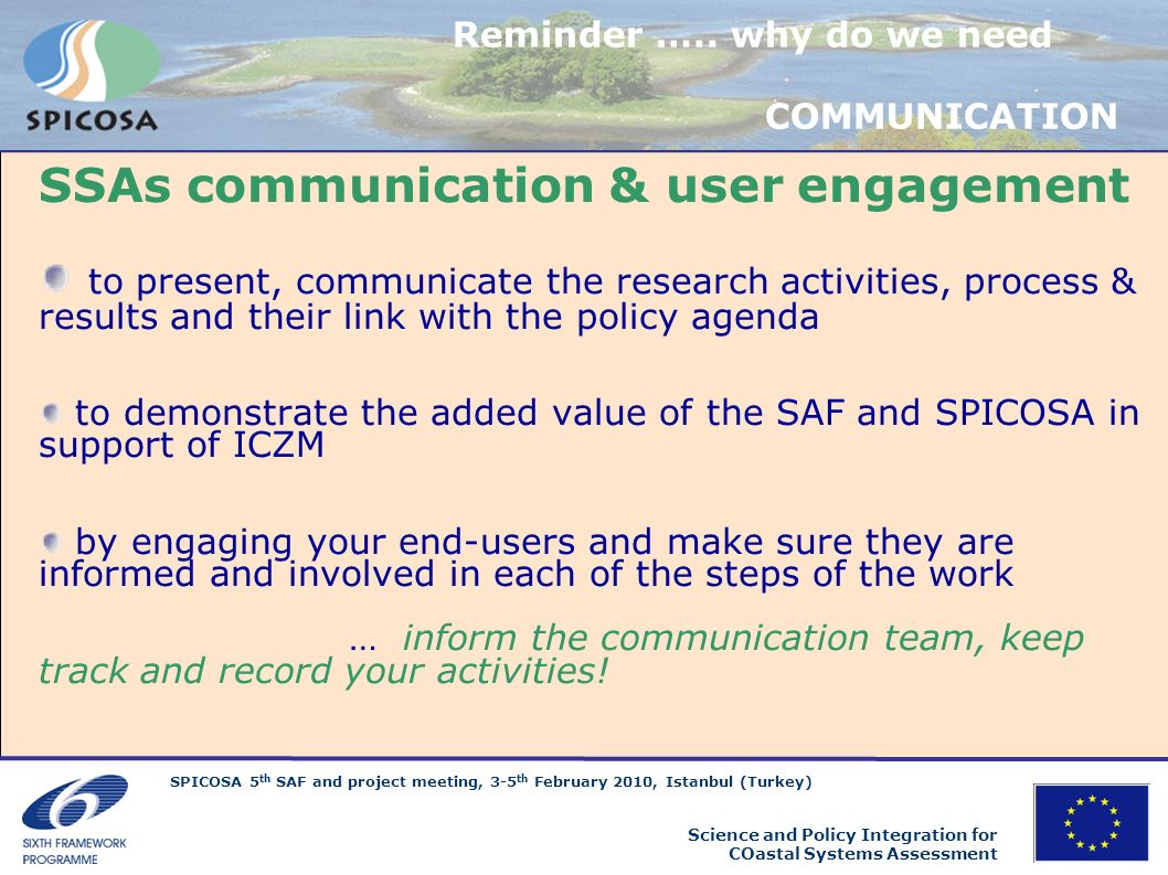 SSAs communication & user engagement