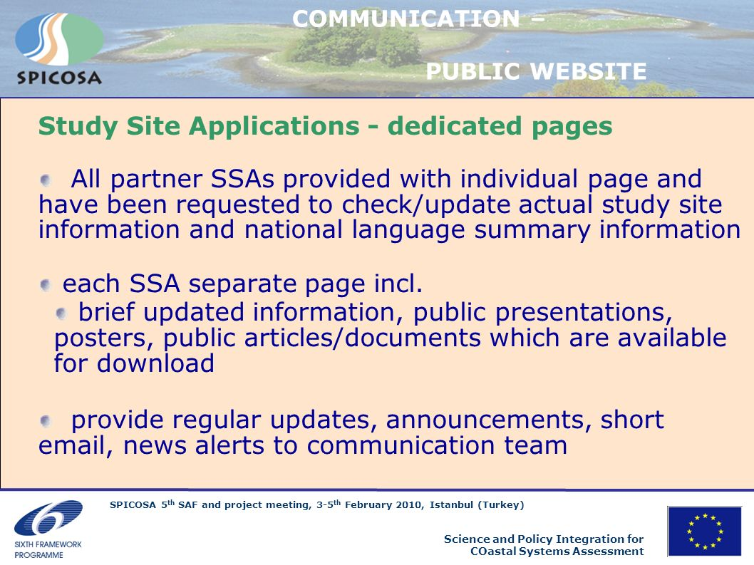Study Site Applications - dedicated pages