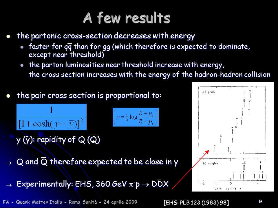 A few results the partonic cross-section decreases with energy