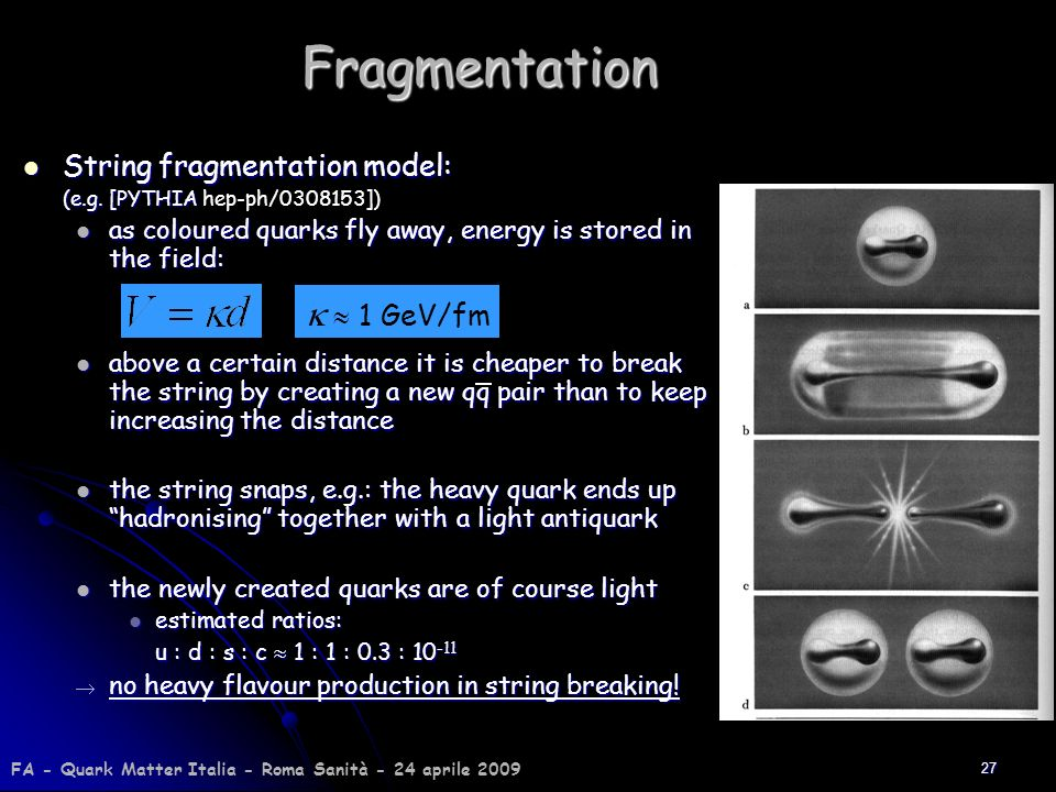 Fragmentation k  1 GeV/fm String fragmentation model: