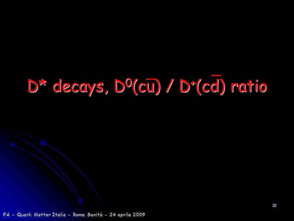 D* decays, D0(cu) / D+(cd) ratio