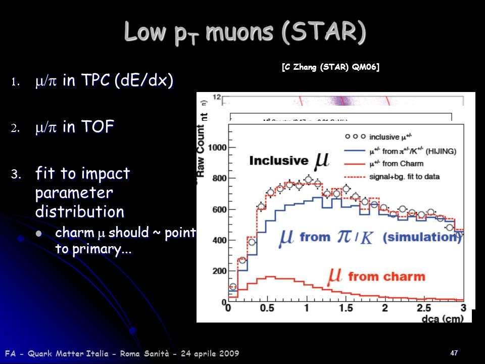 Low pT muons (STAR) m/p in TPC (dE/dx) m/p in TOF