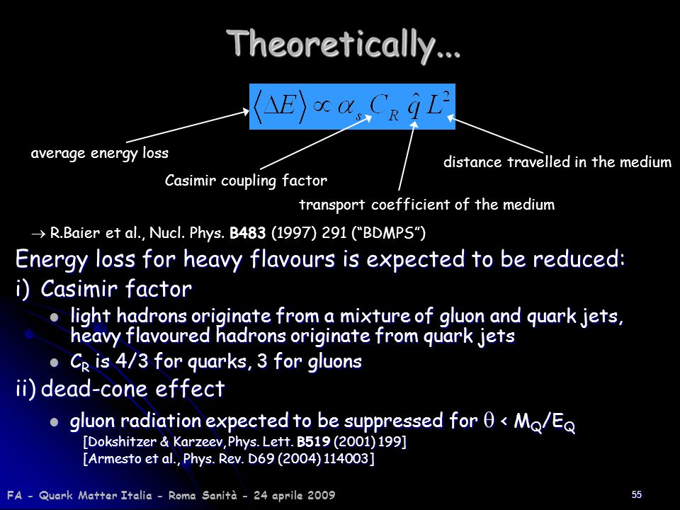 Theoretically... Energy loss for heavy flavours is expected to be reduced: i) Casimir factor.