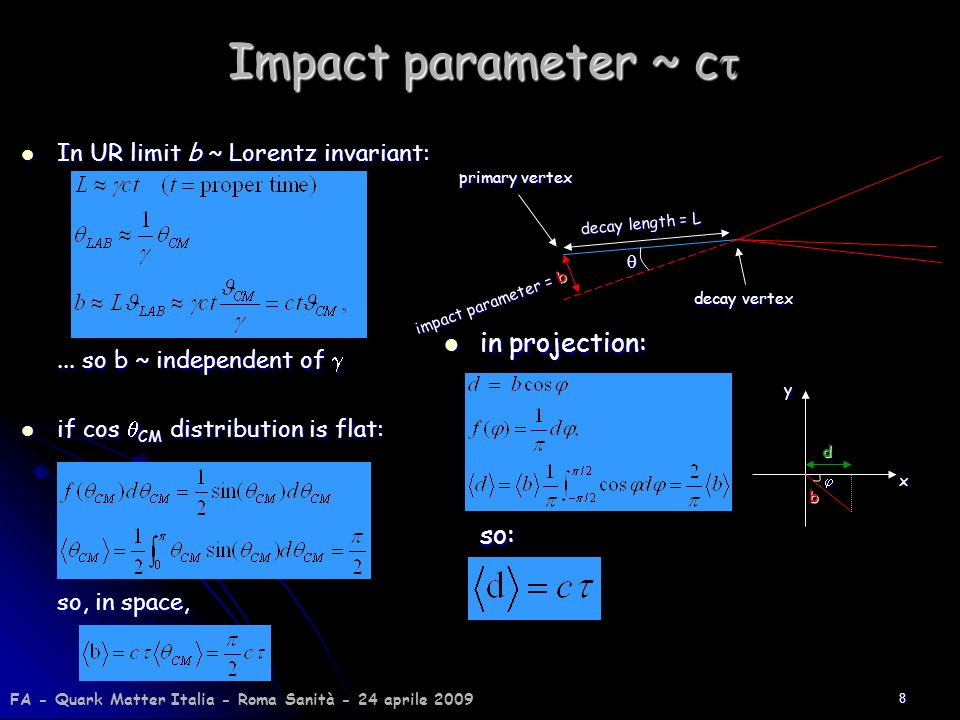 Impact parameter ~ ct in projection: so: