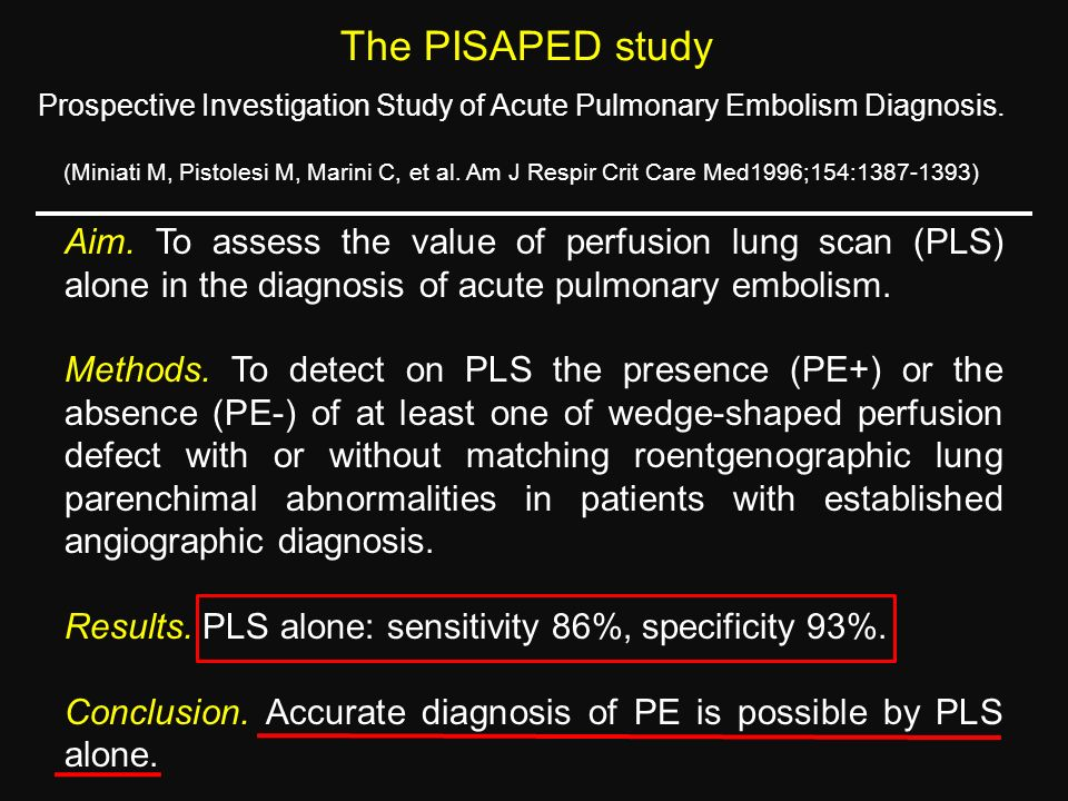 The PISAPED study Prospective Investigation Study of Acute Pulmonary Embolism Diagnosis.