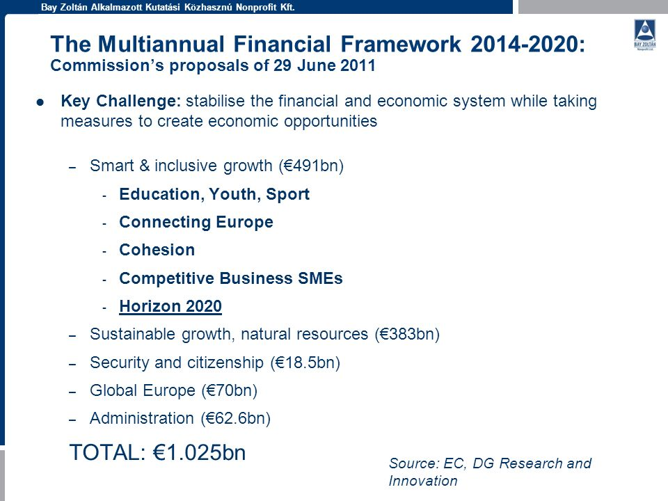The Multiannual Financial Framework : Commission's proposals of 29 June 2011