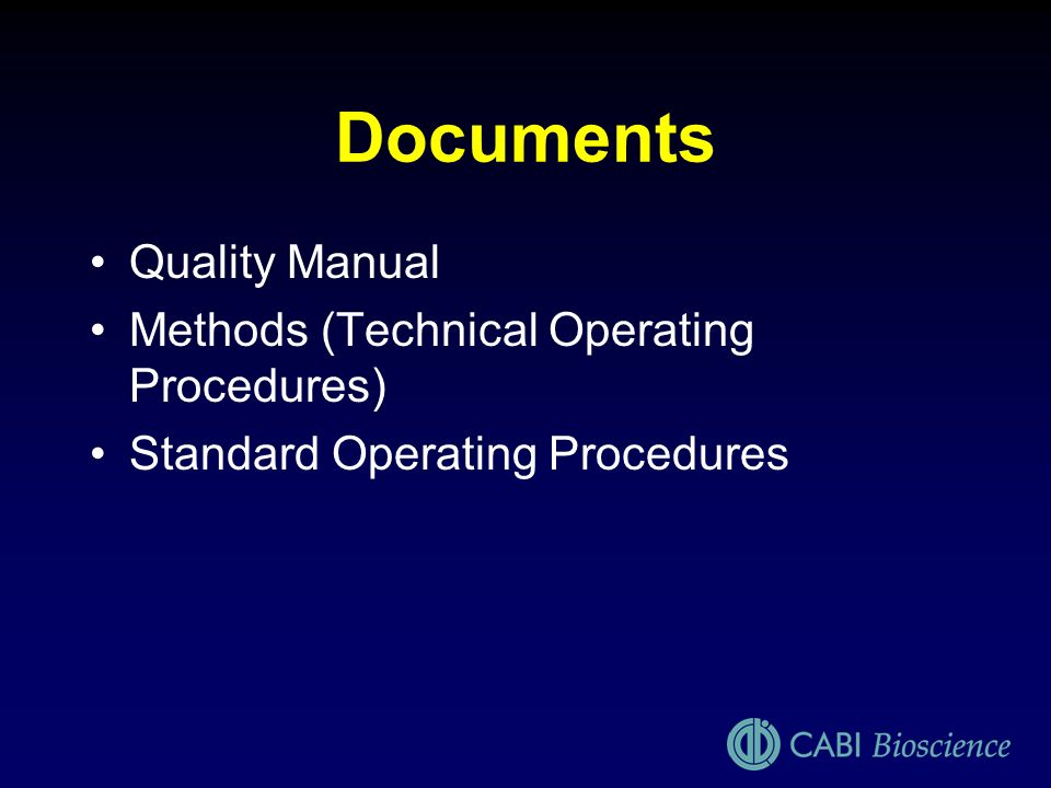 Documents Quality Manual Methods (Technical Operating Procedures)
