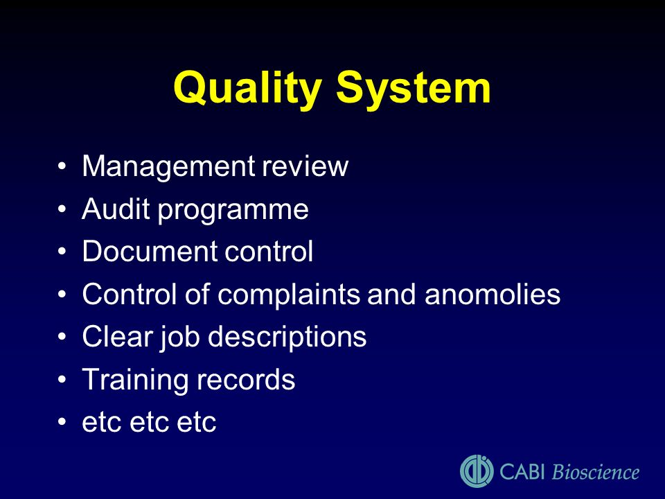 Quality System Management review Audit programme Document control