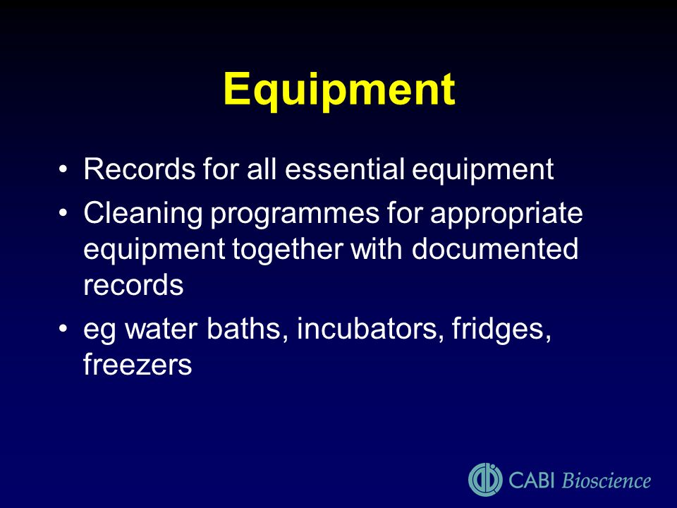Equipment Records for all essential equipment