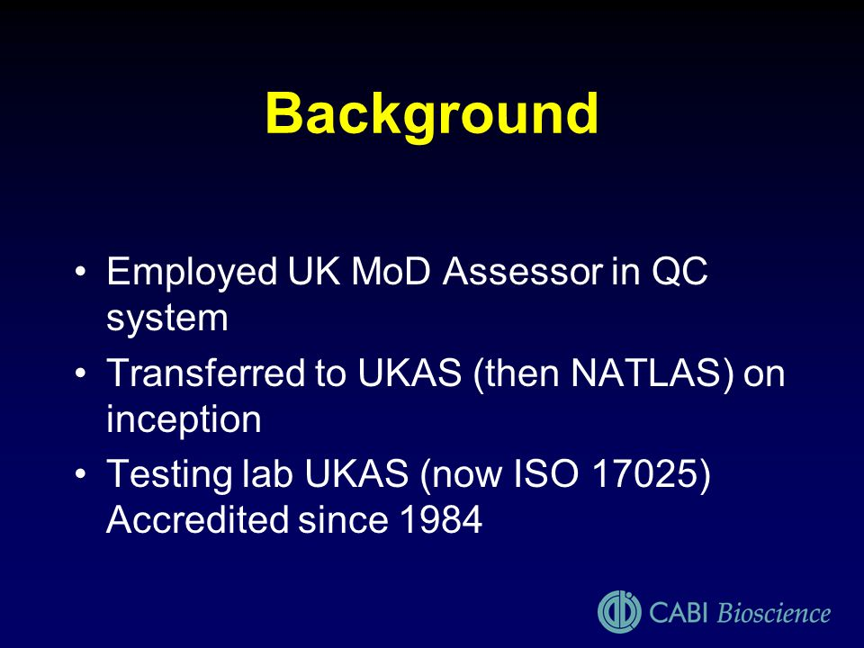 Background Employed UK MoD Assessor in QC system