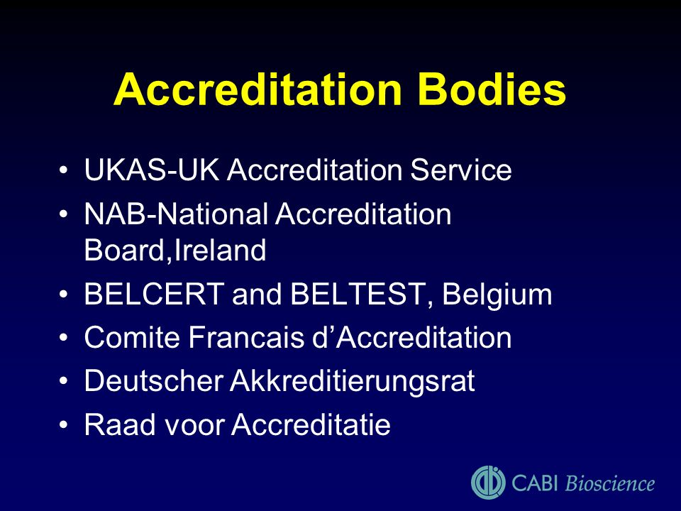 Accreditation Bodies UKAS-UK Accreditation Service