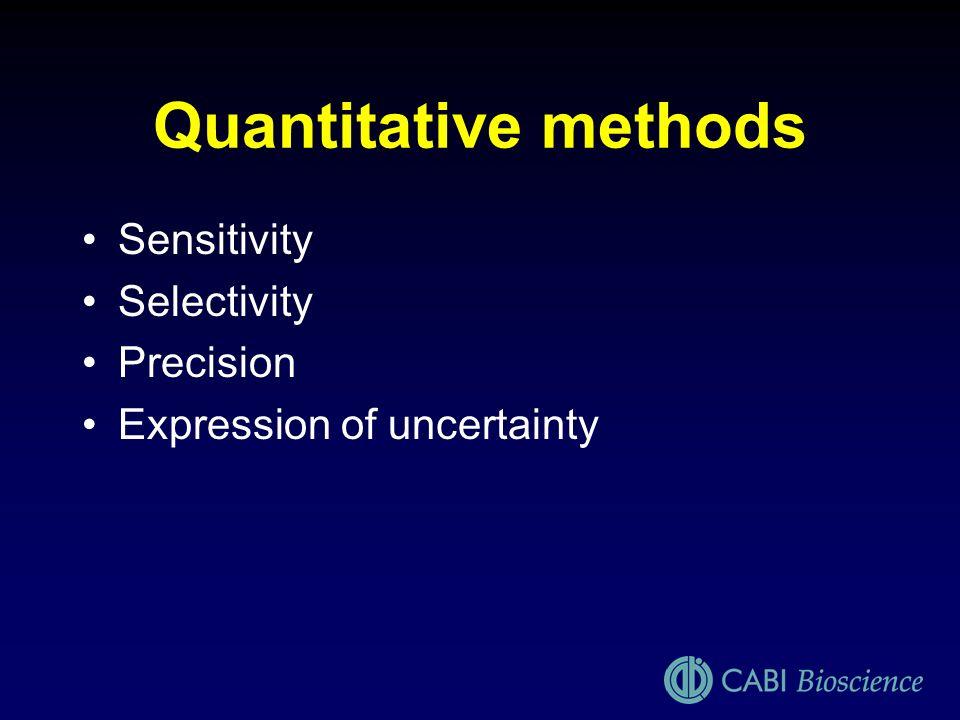 Quantitative methods Sensitivity Selectivity Precision