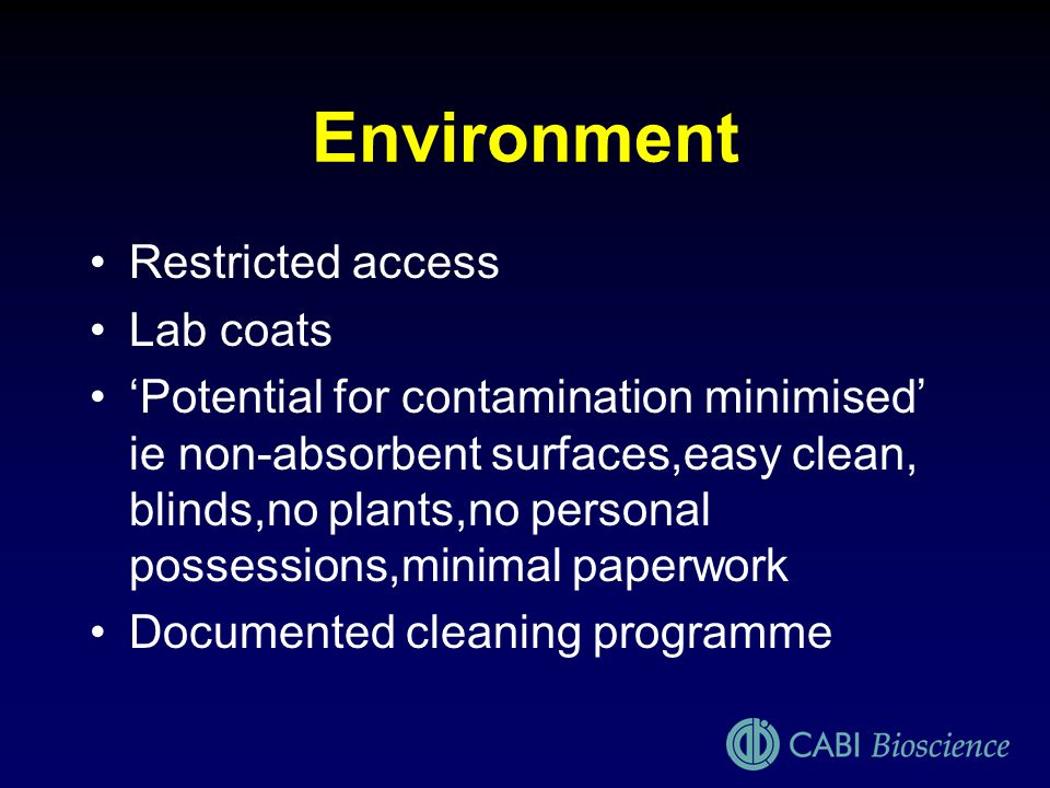 Environment Restricted access Lab coats
