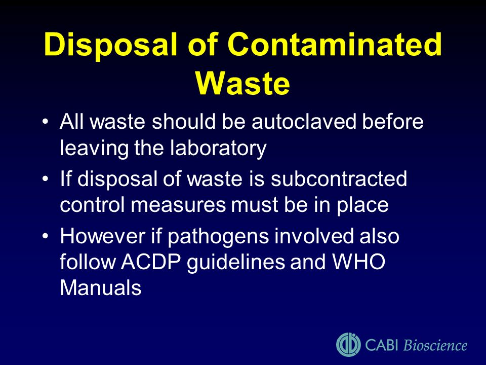 Disposal of Contaminated Waste