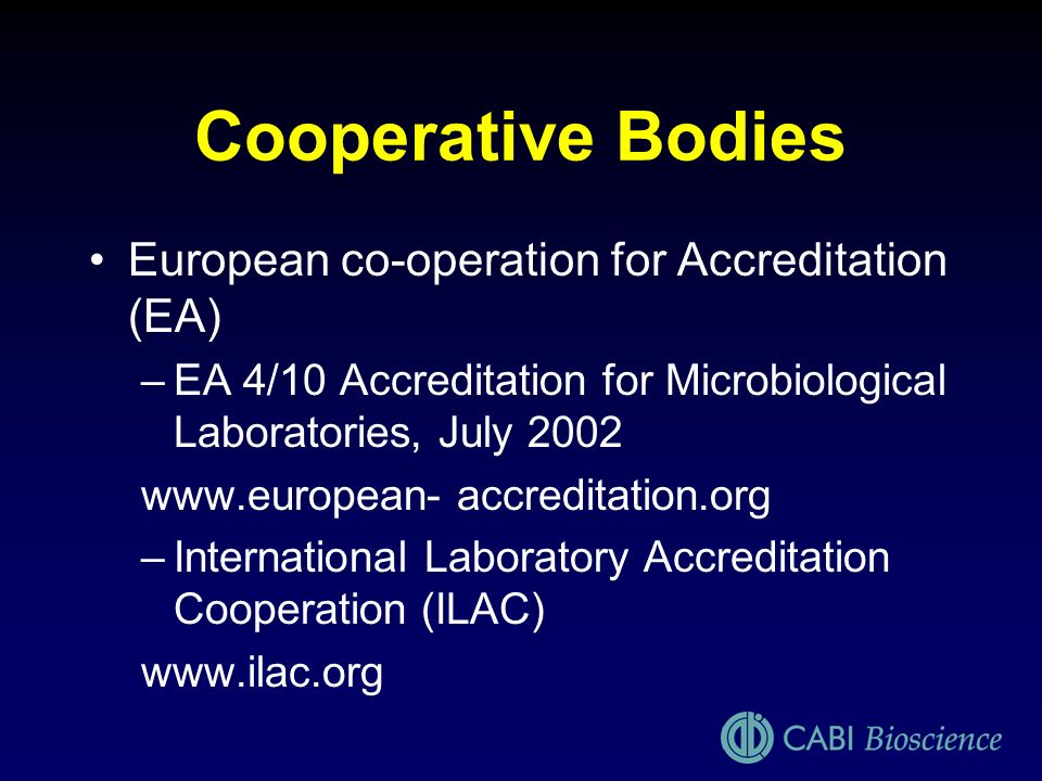 Cooperative Bodies European co-operation for Accreditation (EA)