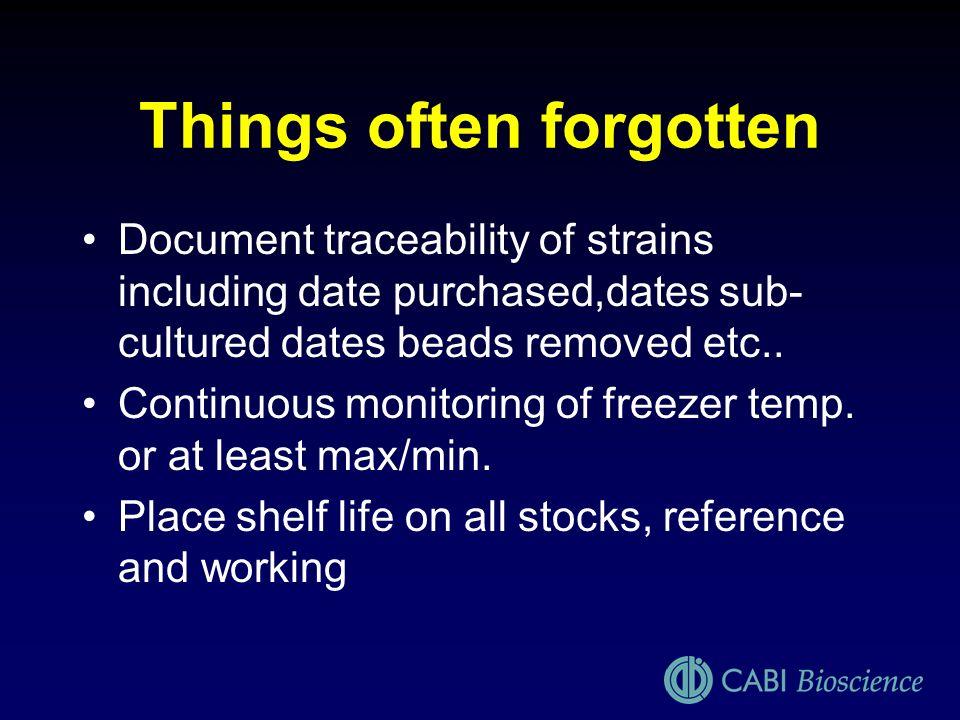 Things often forgotten