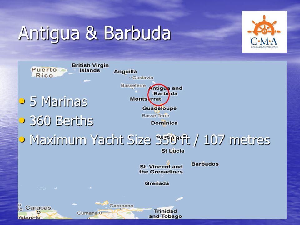 Antigua & Barbuda 5 Marinas 360 Berths
