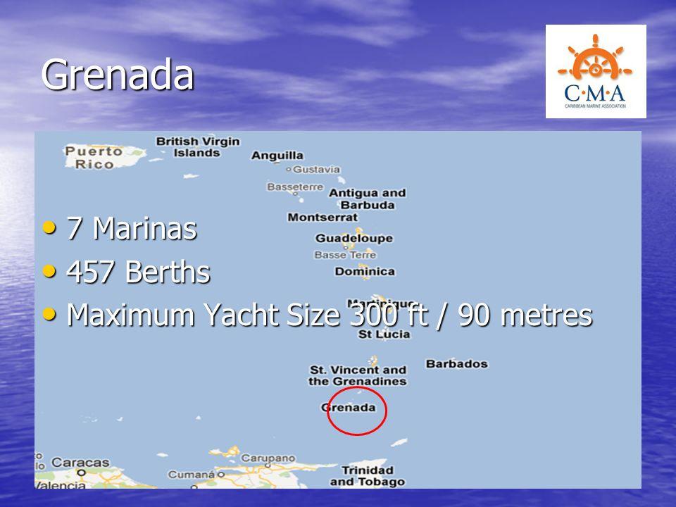 Grenada 7 Marinas 457 Berths Maximum Yacht Size 300 ft / 90 metres