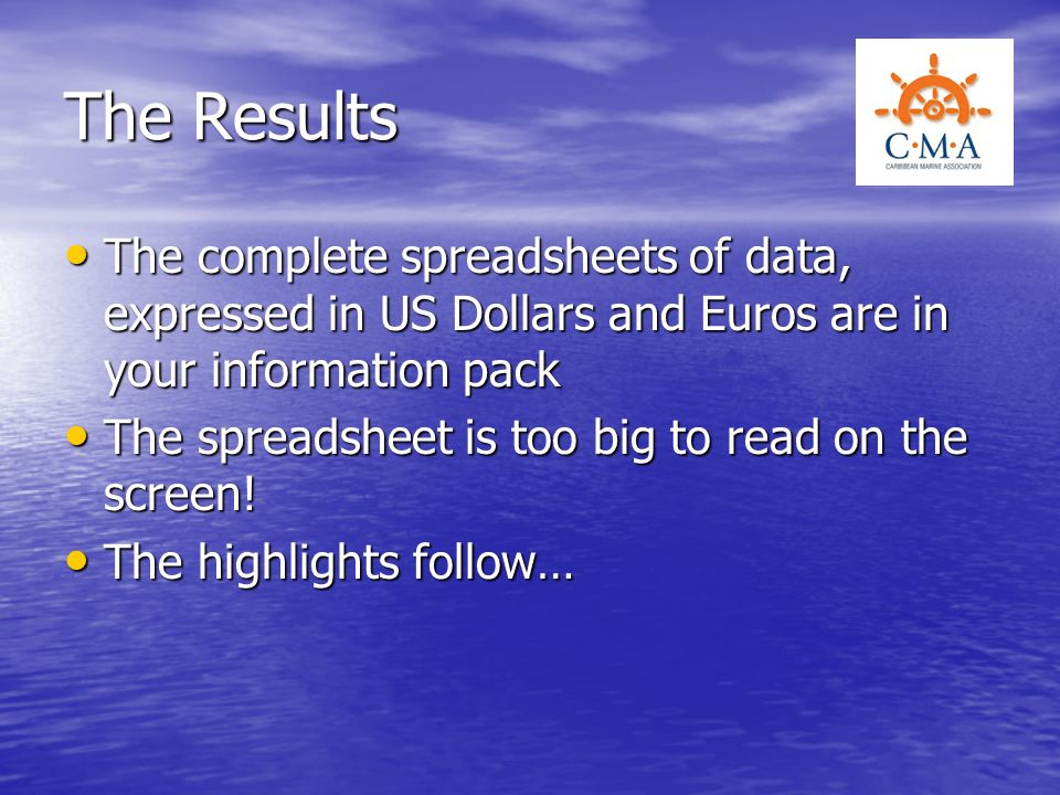 The Results The complete spreadsheets of data, expressed in US Dollars and Euros are in your information pack.