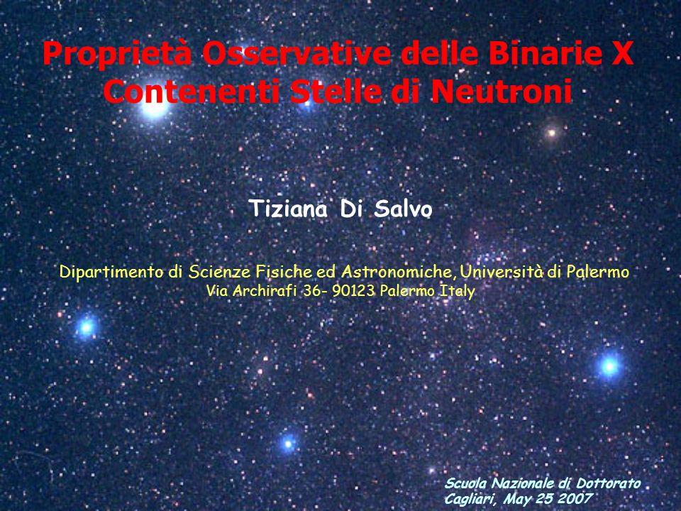 Proprietà Osservative delle Binarie X Contenenti Stelle di Neutroni