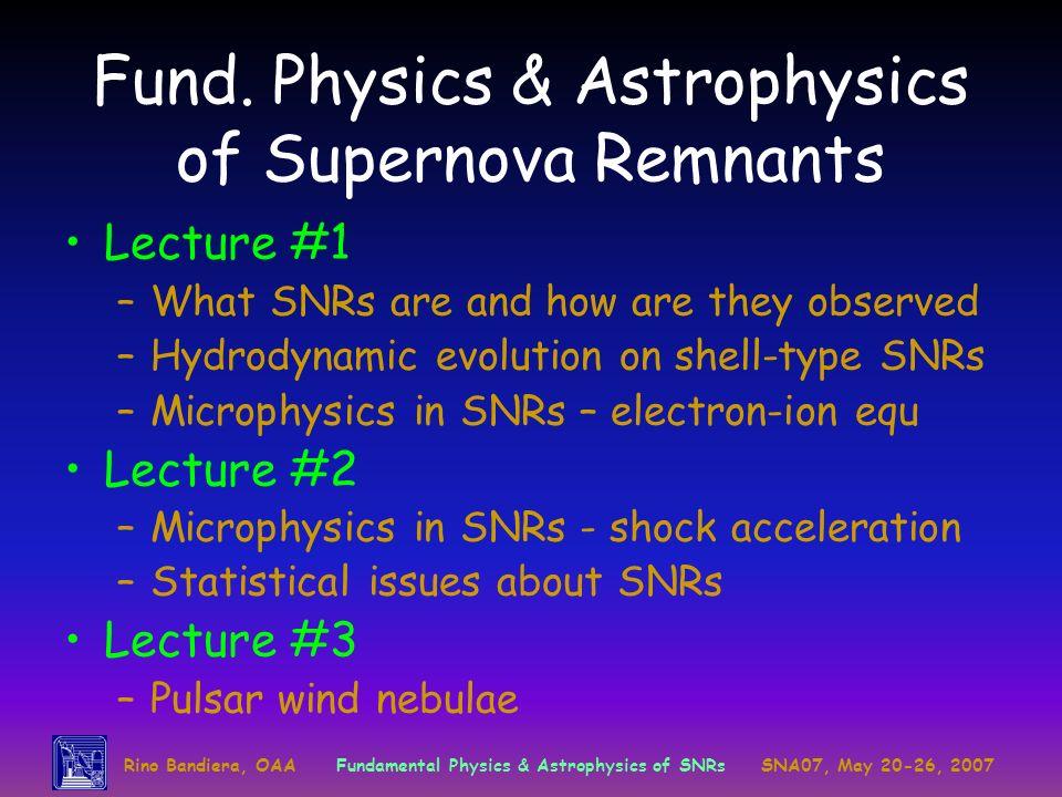 Fund. Physics & Astrophysics of Supernova Remnants
