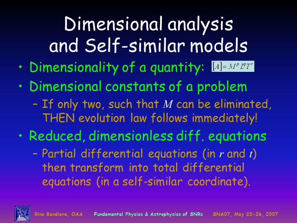 Dimensional analysis and Self-similar models