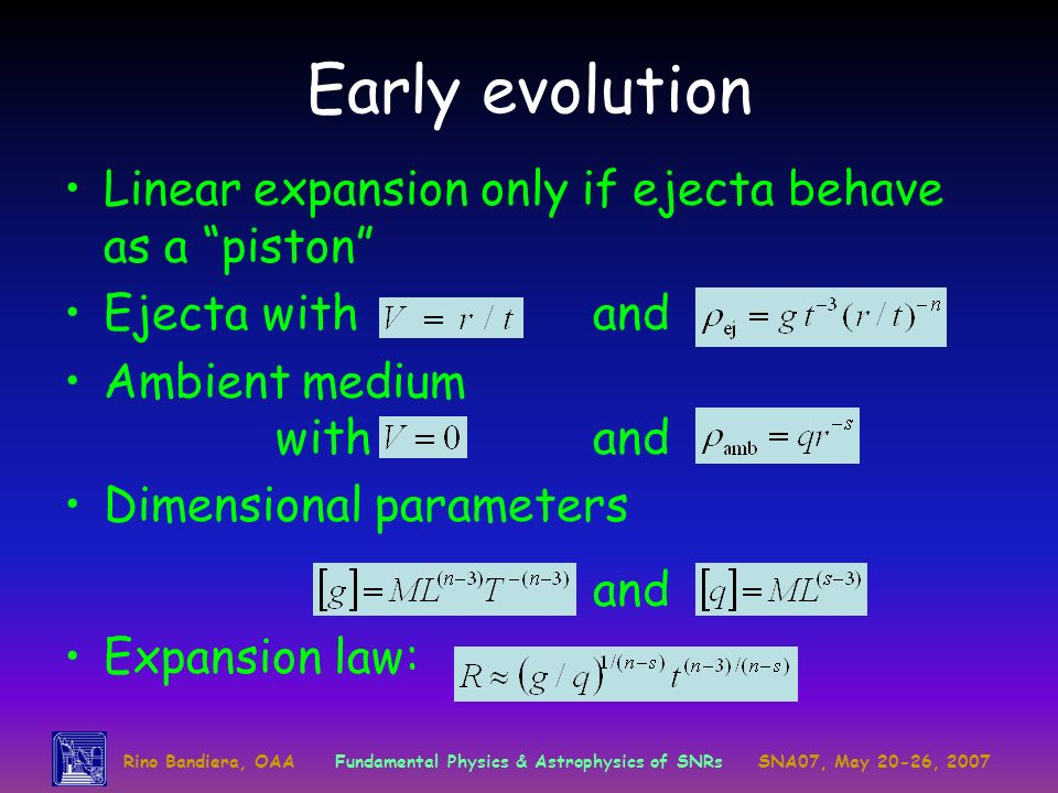 Early evolution Linear expansion only if ejecta behave as a piston