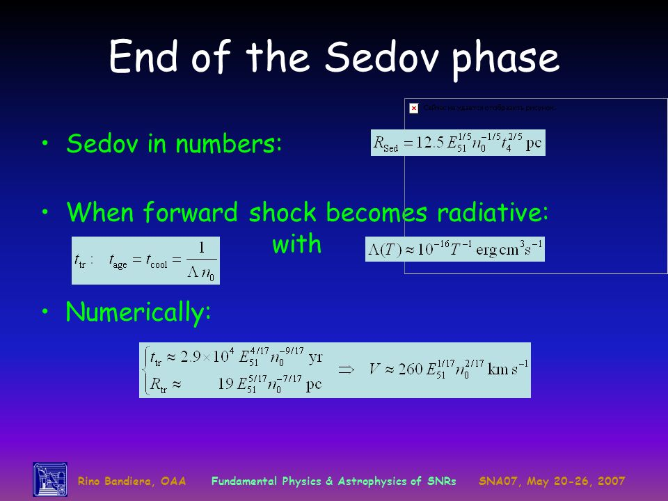 End of the Sedov phase Sedov in numbers: