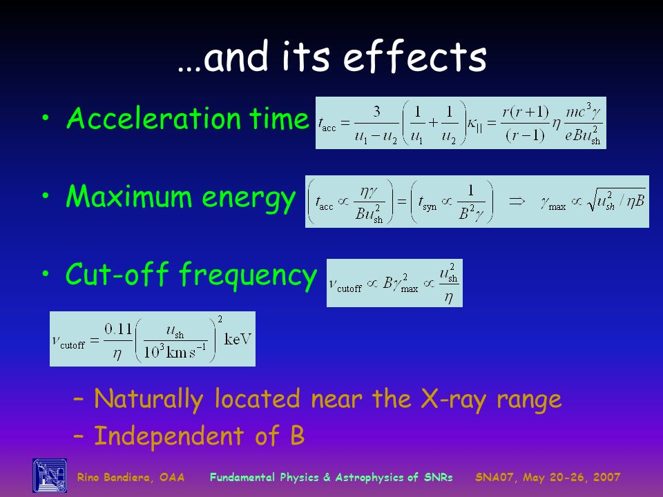 …and its effects Acceleration time Maximum energy Cut-off frequency