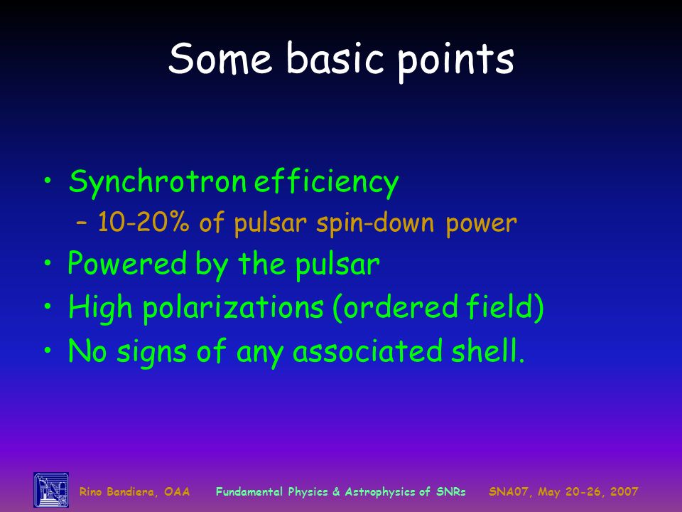 Some basic points Synchrotron efficiency Powered by the pulsar