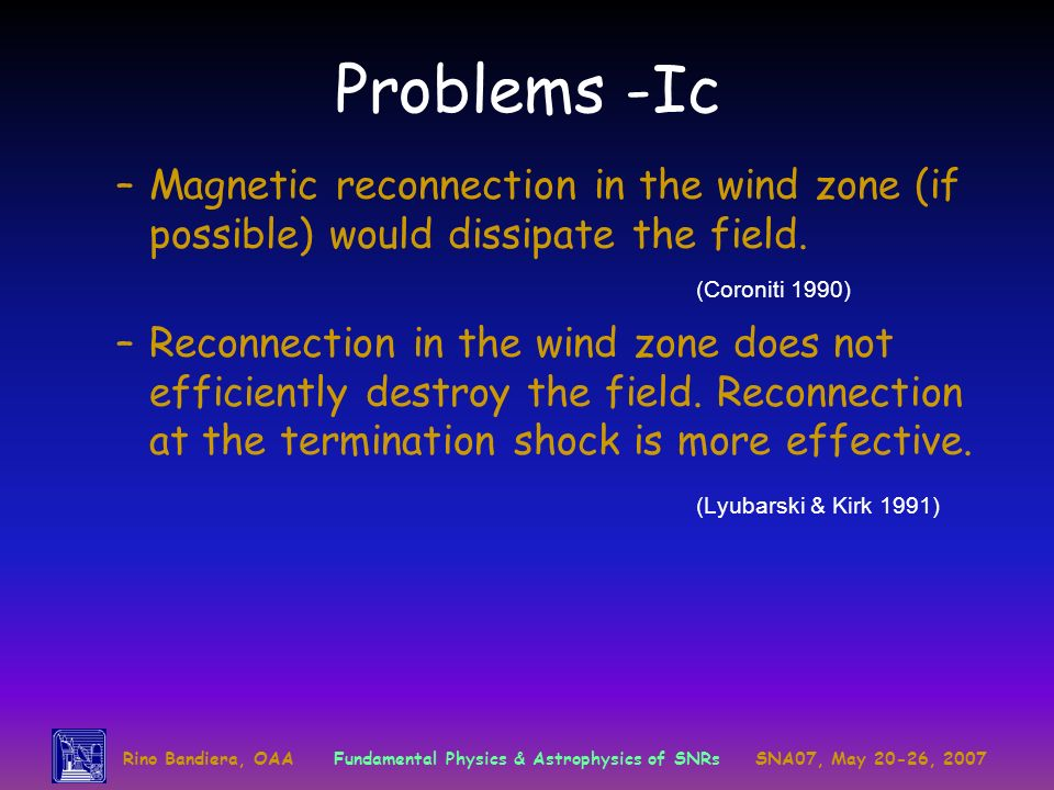Problems -Ic Magnetic reconnection in the wind zone (if possible) would dissipate the field. (Coroniti 1990)