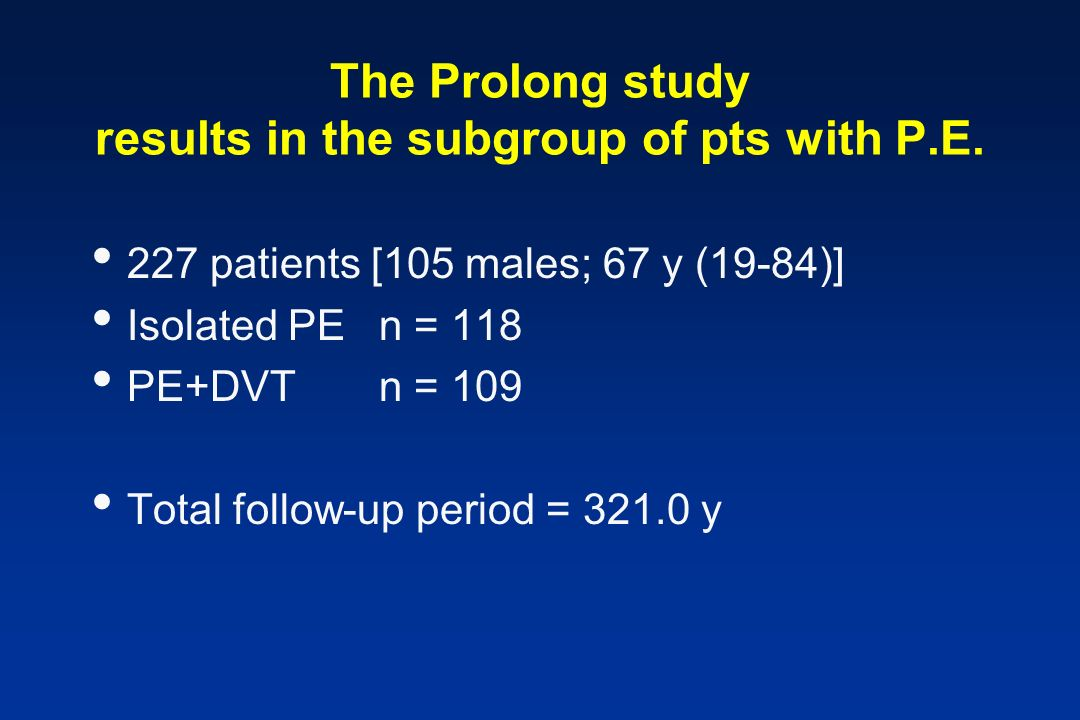 The Prolong study results in the subgroup of pts with P.E.