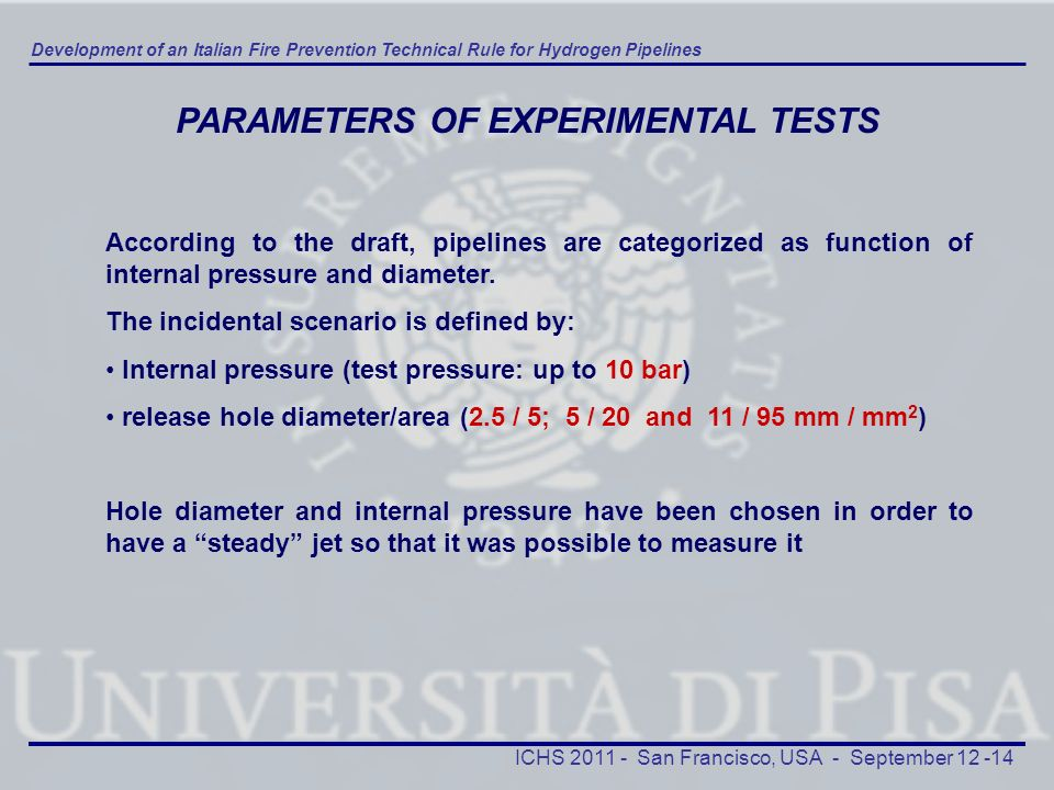 PARAMETERS OF EXPERIMENTAL TESTS